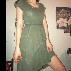 Free People Asymmetrical Green Dress